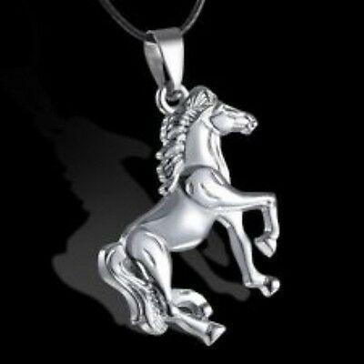 Black Leather Cord Men's Stainless Steel Horse Pendant Necklace