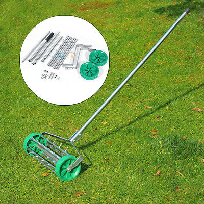 Heavy Duty Rolling Grass Outdoor Garden Lawn Aerator Roller & 3pcs Handle Tool