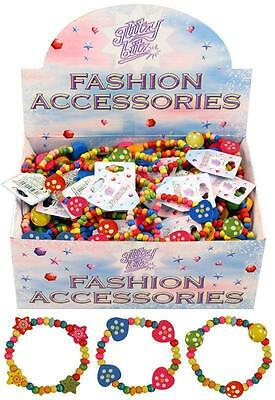 Childrens Bright Multicoloured Wooden Bead Bracelets Girls Party Bag Fillers
