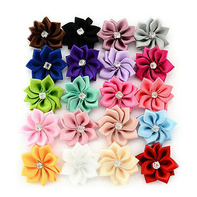 20/40pcs Satin Ribbon Flowers Bows Rhinestone Appliques Sewing Craft Wedding DIY