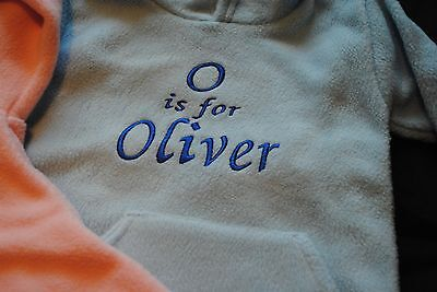 Boys Blue Hooded fleece Any Name personalised with front pockets age 2/3yr blue