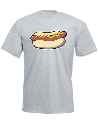 Hot Dog Design Printed Mens T-Shirt Casual Cotton Crew Neck Tee All Sizes
