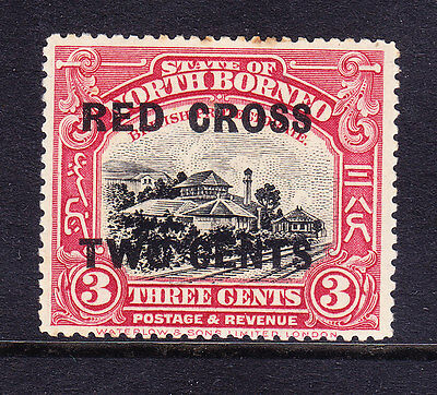 NORTH BORNEO 1918 SG216b RED CROSS TWO CENTS opt on 3c P141/2-15 m/m cat £38