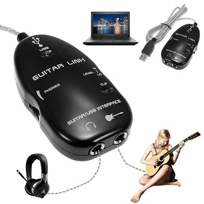 USB Guitar to Laptop PC Mac Interface Link Stereo Audio Cable Recording Adapter