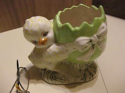 Handmade Easter Ceramic Planter Chick With Egg