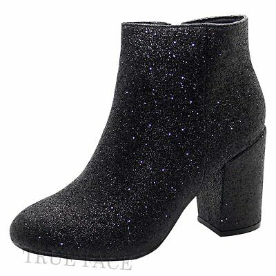New Ladies Glitter Style Sparkle Heels High Ankle Zip Fastening Women Shoes Boot