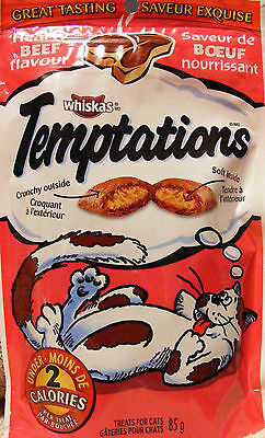 WHISKAS TEMPTATIONS TREATS FOR CATS - HEARTY BEEF - LOW CALORIE TREATS - 425 g