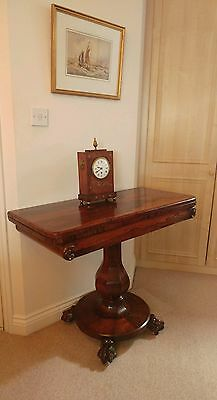 FINE QUALITY WILLIAM IV ROSEWOOD CARD TABLE WITH GREEN BAIZE LINING c1830