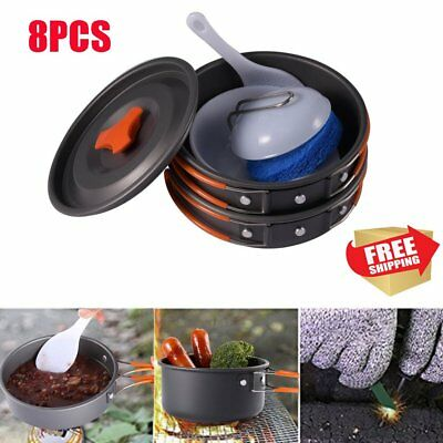 8pc Outdoor Camping Cooking Set Non-stick Outdoor Cookware Picnic Pot Pan Bowl A