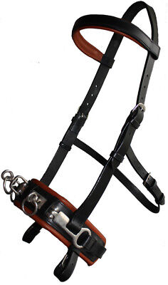 New Horse Padded Leather Lunge Cavesson Bit Attachment Black Full -Free P&P