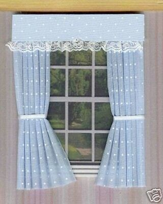 Dolls House Curtains Blue Polkadot