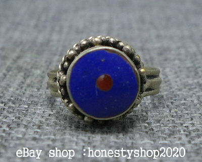 29MM Chinese Miao Silver Inlay Lapis Lazuli Lasurite Jewel Jewelry Fashion Ring