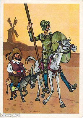 1957 Russian card DON QUIXOTE and SANCHO PANZA leave their village... by G.Valk