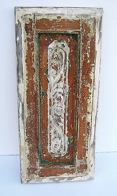 SPANISH COLONIAL ANTIQUE WOODEN DOOR PANEL ENGRAVED OLD MEXICO 27 3/4 x 12 3/4 g
