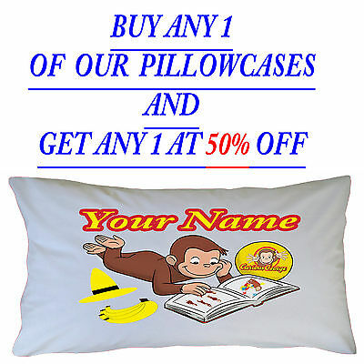 Personalised  Curious George Inspired Children's Kids Pillowcase Christmas Gift