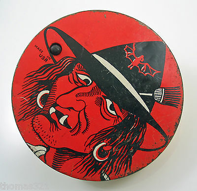 Vintage Halloween Tin Ratchet by T. Cohn Noisemaker 1950s USA Witch Face