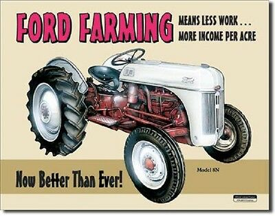 Ford Farming 8N Tractor Farm Equipment  Retro Vintage Metal Tin Sign New