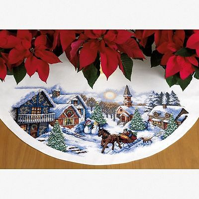 Dimensions - Counted Cross Stitch Kit - Tree Skirt - Sleigh Ride - D70-08830