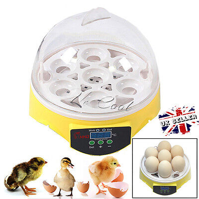 UK 7 Eggs Digital Automatic Incubator Chicken Duck Goose Poultry Hatch Hatcher