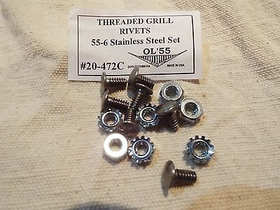 1955 55 1956 56 Chevy Front Grill To Tie Bar Bolt Stainless Threaded Fake Rivets