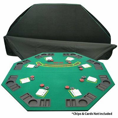 Portable Poker Table Top with Case Deluxe Solid Wood Blackjack Card Game Folding