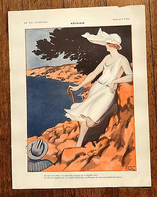1920s La Vie Parisienne French Magazine Page- Gorgeous Image Woman by the Ocean