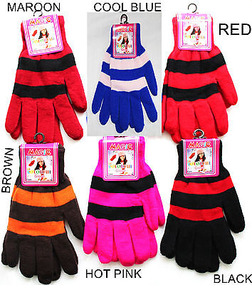 Unisex Childrens Magic Gloves Women Girls Boys Kids Stretchy Knitted Winter Warm