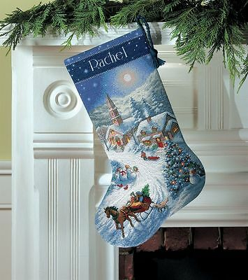 Dimensions - Counted Gold Cross Stitch Kit - Stocking - Dusk Sleigh Ride D08712