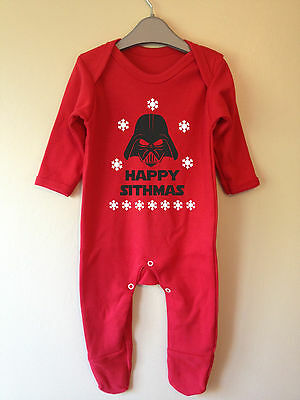Happy Sithmas Darth Vader Star Wars Inspired Christmas Romper Baby Grow Xmas
