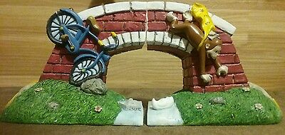 "VANDOR ""Bicycle & Bridge"" Curious George Collection Resin Bookends #888 1997"