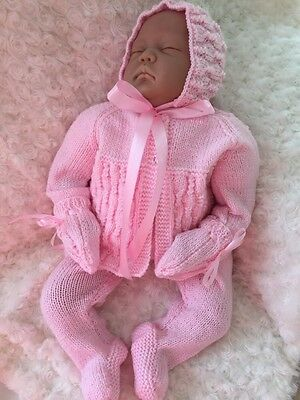 "New:Knitted 4 Piece Pram Set/outfit - 24"" Reborn Baby Girl Baby"