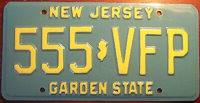 AUTHENTIC 1980s NEW JERSEY GARDEN STATE BLUE LICENSE PLATE TRIPLE 555  N..J.