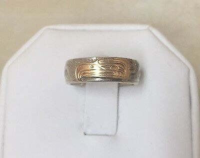 Sterling Silver + 14k Gold Native Eagle Band Ring Size 6
