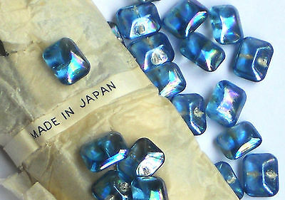 #1024A Vintage Glass Buttons Gorgeous Self Shank Antique iridescent Octagon Blue