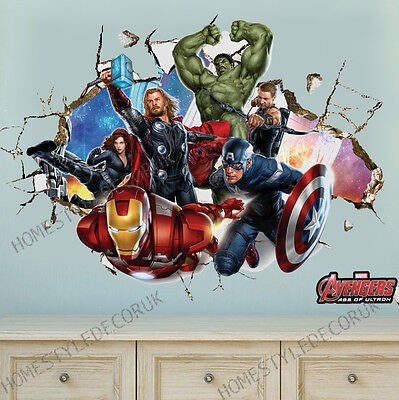 Avengers Super Hero Wall Stickers Crack Decal Kids Room Decor Mural Ironman Hulk