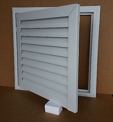 "24"" Wide X 24"" Tall Hinged Aluminum Gable Vent With White Enamel Finish"