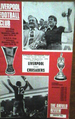 Liverpool V Crusaders 14/9/1976 European Cup
