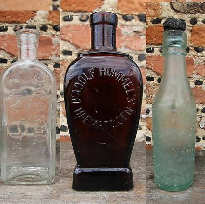 3 x Antique Vintage Glass Lung Tonic Haematogen Medicine Mineral Water Bottles