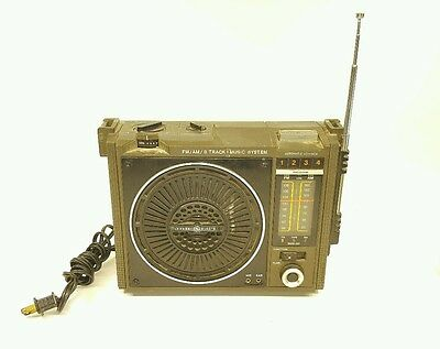 A3c Vintage General Electric FM/AM/8-Track Portable Music System Radio 3-5507A