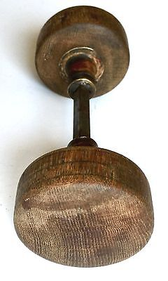 """Antique Victorian Wood & Brass Door Knobs Set With Spindle Large 2.25"""" X 1"""" Wide"""