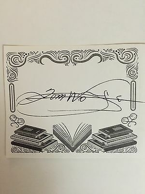 Tom Wolfe, Author Signed Bookplate