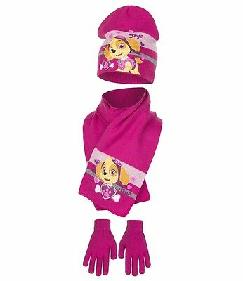 Paw Patrol Kids 3 Pcs Hat Gloves and Scarf Set Skye One Size 4 to 9 Years