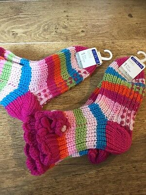 Girls Socks PInk Flowery Multi Coloured Show 2-3.5 Aged 7-10 Years Two Pairs