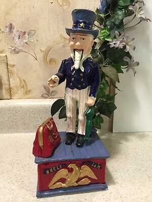 "Vintage CAST IRON UNCLE SAM TOY MECHANICAL BANK USA 11"" tall Works"