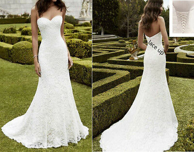 White/Ivory Lace Mermaid Wedding dress Wedding gown Size 4 6 8 10 12 14 16 18+