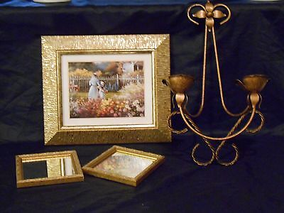 Set of 4 VintageHOME INTERIOR-Wall Decor-Picture/Candle Holder/Mirrors-MUST SEE!