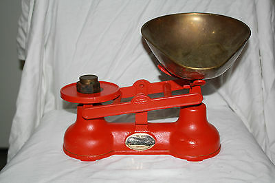 Vintage Salter STAFFORDSHIRE Cast Iron Scale Made in England Red