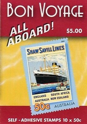 2004 AUSTRALIAN STAMP BOOKLET BON VOYAGE - ALL ABOARD 10 x 50c STAMPS MUH
