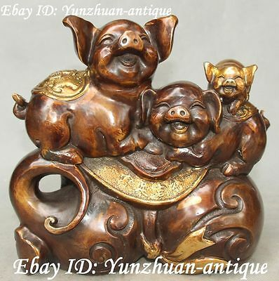 """10"""" Marked Bronze Gilt Wealth Yuanbao Gourd Kid Pig Pig's Family Animal Statue"""