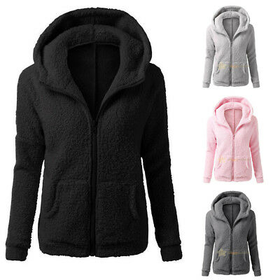 Womens Thicken Fleece Fur Coat Winter Warm Hooded Parka Overcoat Jacket Outwear